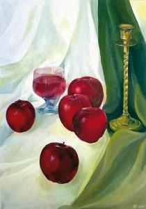 Натюрморт з червоними яблуками.