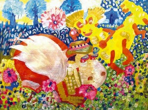 Близнюки-бобренята Гусопота та Сміхохотка. Малюнок автора Наталії Веселицької.