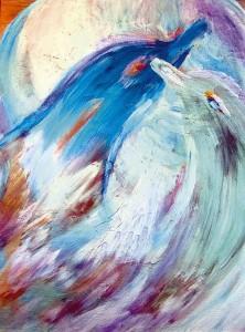 17) «Поцілунок дельфінів», акріл.