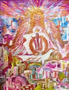 20) «Янгол над містом веселок», акріл