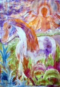 3) «Кінь знайшов траву», акріл.
